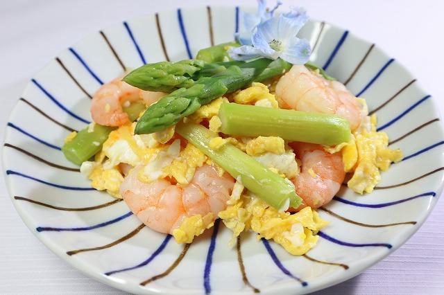 海老とアスパラと卵の炒め物・出来上がり品のアップ