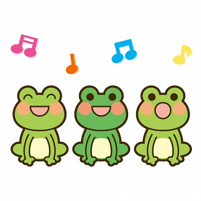 カエル4が3匹合唱しているイラスト