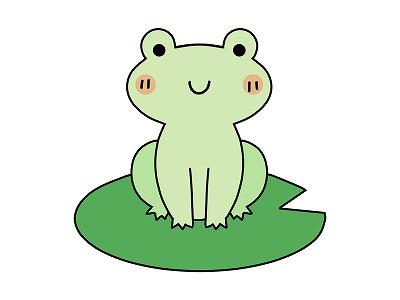 カエルが葉っぱの上に座っているイラスト